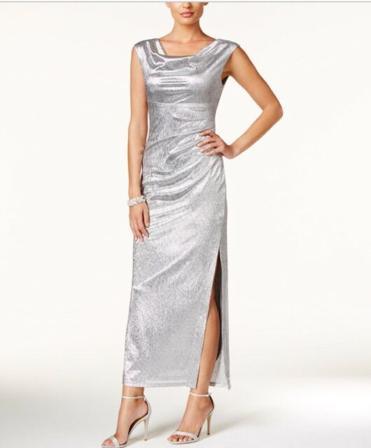 Connected Apparel 5940 Womens Silver Metallic Slit Evening Dress