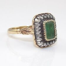 Antique Estate 18K Yellow Gold Natural Emerald Diamond Ring Size 7.5 ZD
