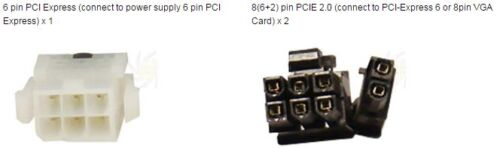 """pin Cable AYA-YPCIE628 6+2 7 inch PCIE 6pin /""""Y/"""" Split to Two PCIE 2.0 8 AYA 7/"""""""