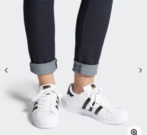 adidas superstar white black gold size 6