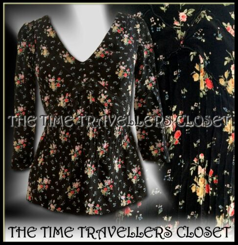 Scallop Blouse Topshop Pintuck Moss Vintage Bodice Black 12 Silk Floral Uk Kate ZA8wzqA