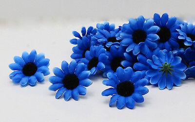 50 100pcs Blue Artificial African daisy Silk Flower Heads Decor Autumn style