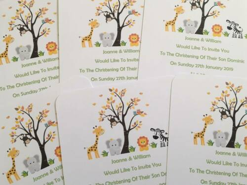Personalised Jungle//Animal Theme Birthday Baby Shower Party Invitations