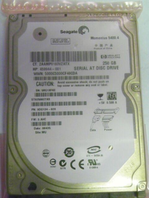 """Seagate ST9250827AS P/N 9DG134-020 FW: 3.AHC 250GB 2.5"""" SATA Hard Drive"""