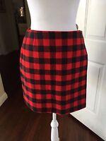 TOMMY HILFIGER Black Red Plaid Check Wrap Skirt Gigi Hadid- 6