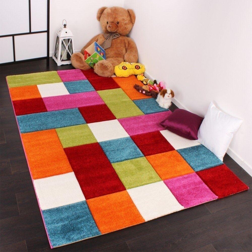 Enfants chambre à coucher sol tapis Couleuré arc-en-tapis de jeu enfants carreaux épais tapis