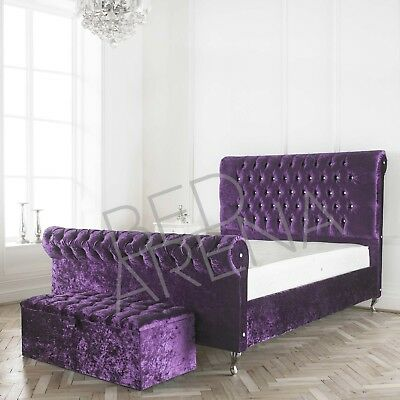 Purple Crushed Velvet Upholstered Burlington Bed Mattress Button Choice Ebay