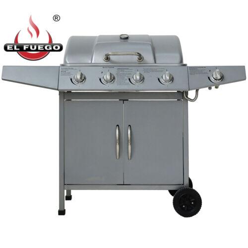 1 Seitenbrenner Barbecue El Fuego Gasgrill Dayton silber BBQ 4 Hauptbrenner