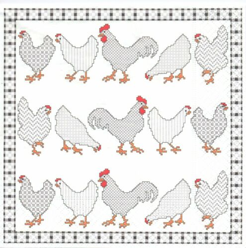 Lot de 2 Serviettes papier Animal Ferme Coq Poule Decoupage Collage Decopatch