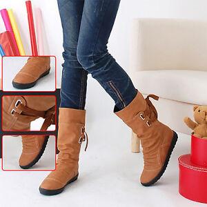 Fashion PU Boots Women Autumn Winter Boots Mid-Calf Solid Elegant Flat Heels Cha