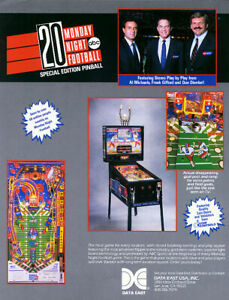 Monday-Night-Football-Pinball-FLYER-Original-NOS-1989-Data-East-Great-Wall-Art