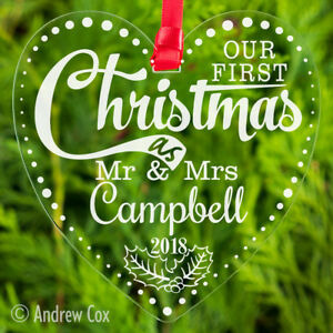 Mrs/&Mrs wooden 1st Christmas as Mr /& Mrs mdf Christmas tree decoration Mr/&Mr