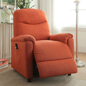 Catina Living Room Recliner Lounger Chair Power Lift Comfort Orange Plush Fab