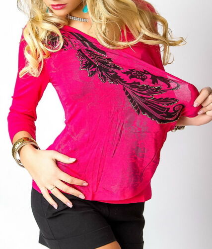 Damen MiSS V Shirt Wickel Look Top Tribal Print schwarz gold S//M 34//36 M//L 36//38