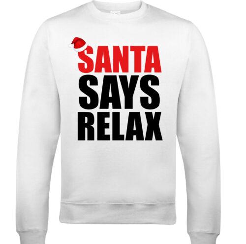 Santa Says Relax Mens Funny Xmas Sweatshirt Frankie Ugly Jumper Secret Santa