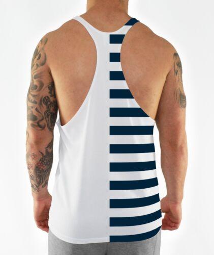 La moitié à rayures bleu marine Bodybuilding gilet stringer maillot à Dos Nageur Gym muscle hommes tank
