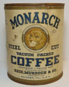 Old Vintage 1920s MONARCH COFFEE TIN LION GRAPHIC TALL 1 POUND CAN REID MURDOCK
