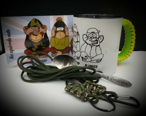 free spoon /& stickers, Perfect Gift 3 cord paracord handle Carp fishing mug