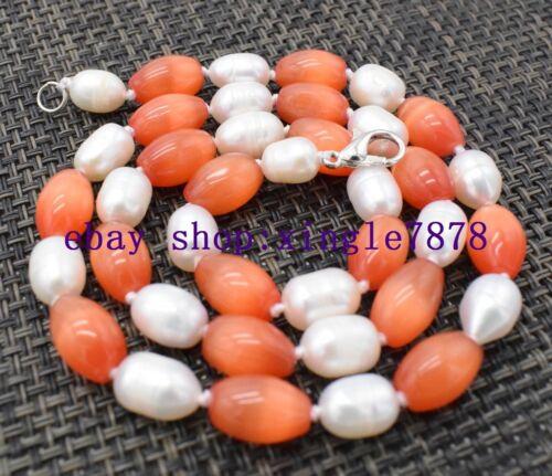 """7-8 mm de riz blanc perle /& 8x12mm riz orange rouge mexicain Opale Gems collier 18/"""""""