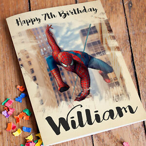 Image Is Loading SPIDERMAN Personalised Birthday Card FREE Shipping Son Boys