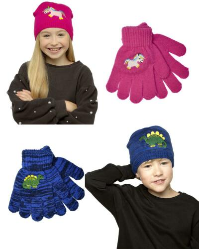 Girls Boys Kids Childrens Unicorn Dinosaur Winter Knitted Hat /& Gloves