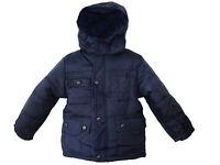 Boys School Jacket Winter Padded Navy Black Fur Hooded New Coat Size 3-14 Years