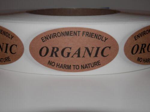 ORGANIC ENVIRONMENT FRIENDLY NO HARM TO NATURE 1X2 Oval Label Kraft 250//rl