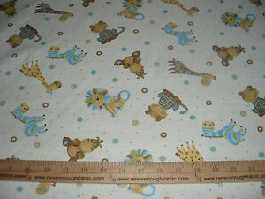 Cotton-Fabric-Baby-Safari-Animals-on-creamy-white-Blue-brown-green-Lion-BTY