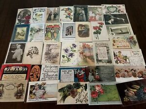 Lot-of-40-Antique-1900-039-s-Mixed-Topics-Greetings-Postcards-All-with-stamps-b-34
