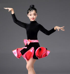 Kids Girls Latin Dance Dress Velvet Long Sleeves Costume Competition ... 342621c58327