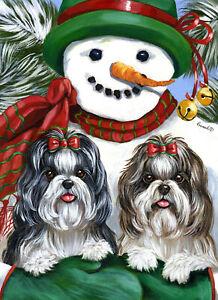 Precious-Pet-Garden-Flag-Shih-Tzu-Snowman-12-034-x-18-034-Charity
