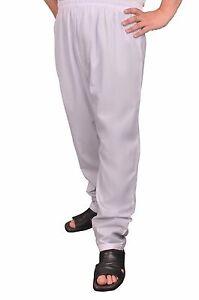 Da Uomo Bianco Pantaloni Thobe Pantaloni l/'Islam Pigiami PJs GRANDI COMODE DISHDASHA arabo NUOVO