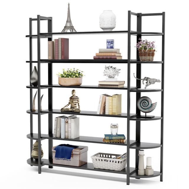 """6-Tier Bookshelf 62""""Lx12""""Wx70""""H Sturdy Bookcase W/ Steel"""
