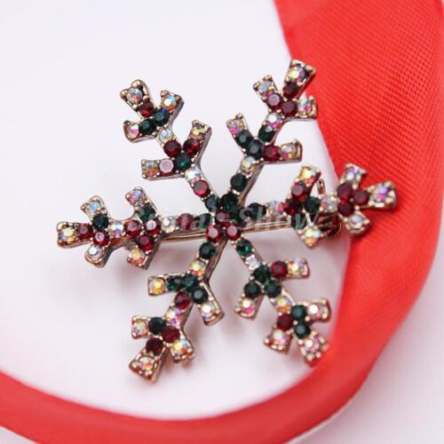 Xmas Gifts Diamante Crystal Enamel Snowman Snowflake Christmas Tree Brooch Pins