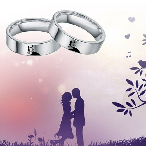 Nightmare Before Christmas Jack and Sally Stainless Steel Band Ring#kl