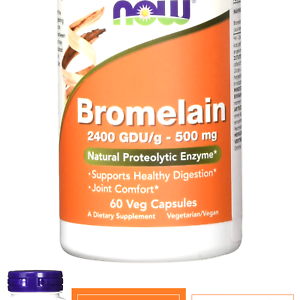 NOW Supplements, Bromelain (Natural Proteolytic Enzyme) with 2400 GDU, 500mg,...