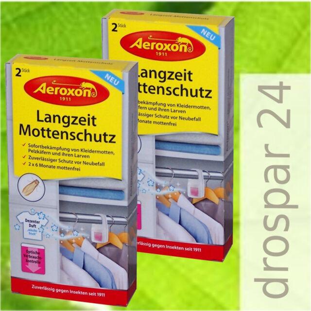 Aeroxon Langzeit-Mottenschutz Kleidermotten Mottenfrei Wäscheduft 2x 2 Stück *WS
