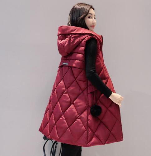 Winter Womens Sleeveless Waistcoat Vest Quilted Puffer long Hoodie Coats Sz