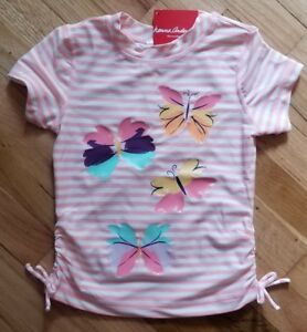 4a2cd8124715c3 NWT HANNA ANDERSSON PINK BUTTERFLY RUCHED RASH GUARD SWIM SHIRT 110 ...