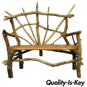Swell Details About Rustic Primitive Artisan Tree Log Driftwood Garden Patio Bench By Robert Powchik Gmtry Best Dining Table And Chair Ideas Images Gmtryco