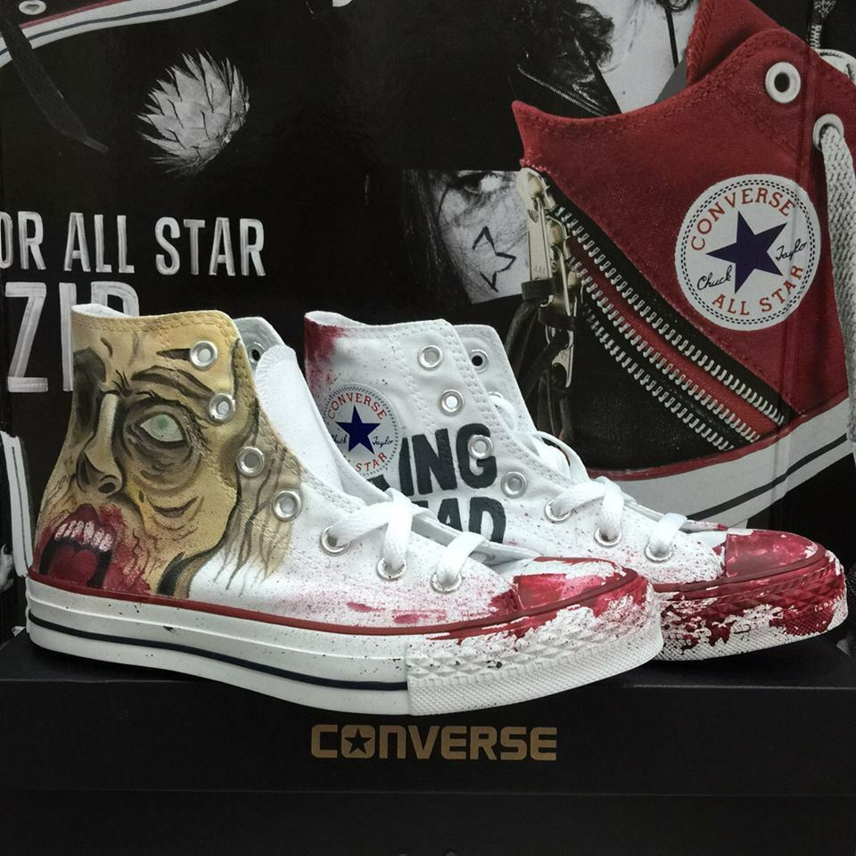 Converse The Walking Dead Face Blood Hoch Weiß Weiß Hi Gemalt Zeichnen 5