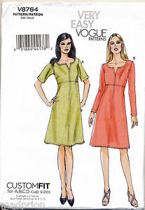 VOGUE-SEWING-PATTERN-8764-MISSES-SZ-16-24-EASY-NOTCH-NECK-DRESSES-IN-PLUS-SIZES