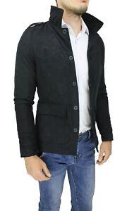 Diamond-cappotto-giacca-uomo-scamosciato-nero-slim-fit-giubbotto-trench-casual