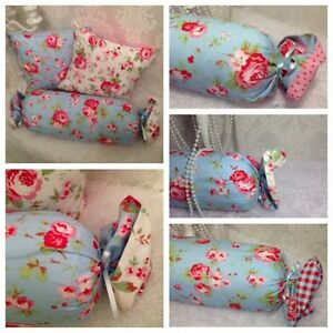 Feather-Filled-Bolster-Shabby-Chic-Cushion-Cath-Kidston-Blue-Rosali-NEW
