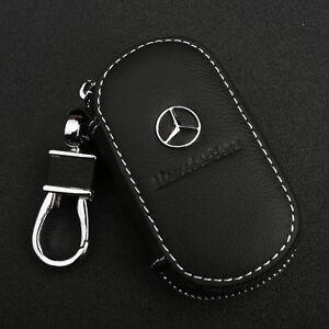 Black-Cowhide-leather-Car-Key-Holder-Keychain-Ring-Case-Bag-For-Mercedes-Benz
