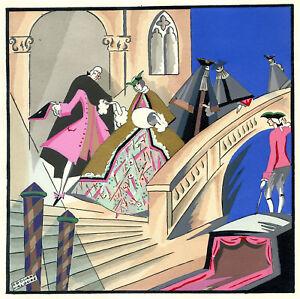 1930s French Pochoir Print Edouard Halouze Art Deco Medieval Courtship Castle