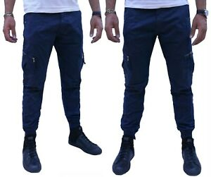 Pantaloni-uomo-Cargo-Cotone-Tasche-Laterali-Pants-Slim-Fit