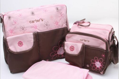 Pink Embroidered Mummy Maternity Hospital Baby Nappy Changing Bag Set 3pcs