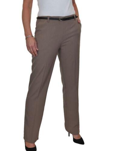 Straight Leg Boot Cut Smart Trousers FREE Belt Light Brown Size 8-22 1540-2