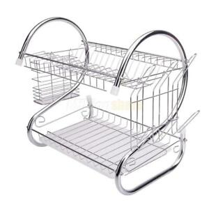 Hot-Kitchen-Dish-Cup-Drying-Rack-Drainer-Dryer-Tray-Cutlery-Holder-Organizer-US